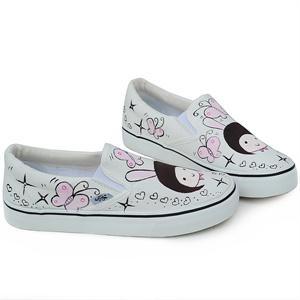 城市公主*韩版可爱娃娃帆布鞋休闲涂鸦鞋d-w1048韩国插画可爱娃娃手绘