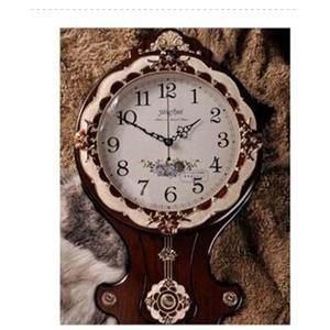 乐唯仕田园乡村挂钟欧式双面挂钟静音中式双面钟表