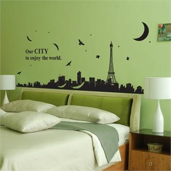移除墙贴纸卧室客厅玄关建筑素描城市-卡通城市建筑客厅装饰画床