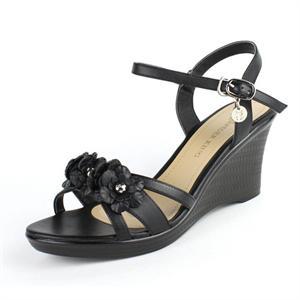 正品蜘蛛王女鞋花朵坡跟中高跟鞋罗马头层皮鞋露趾鱼