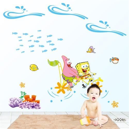 可爱卡通墙贴 幼儿园墙贴 可移除墙贴纸; 海绵宝宝纸