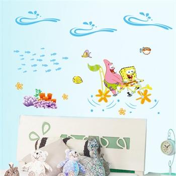 海绵宝宝 新饰线墙贴纸 卧室床头浪漫贴画可移除客厅电视墙儿童