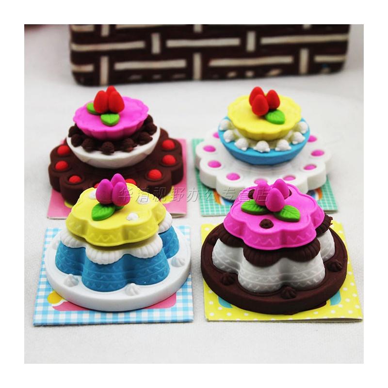 日韩国款可爱卡通立体多层生日蛋糕橡皮擦