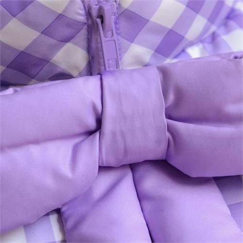 粉红大布娃娃 2013冬季紫色格子蝴蝶结镶拼长款羽绒服