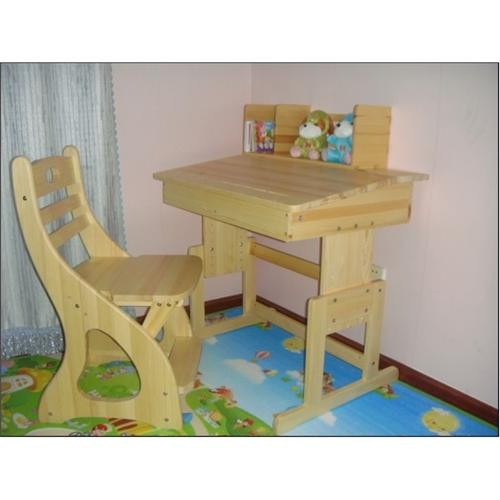新款加厚/加宽儿童实木学习桌椅/松木学习桌/不带凹