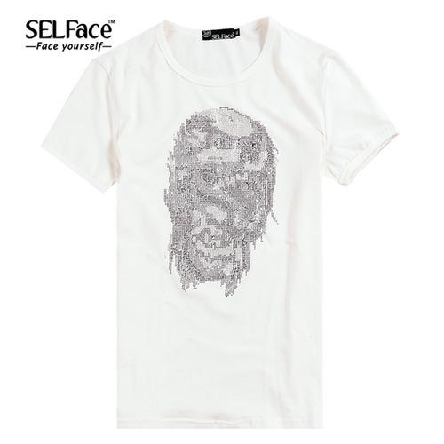 selface 朋克风 立体烫钻头像 莱卡棉短袖t恤 5色 t521灰色_白色,m