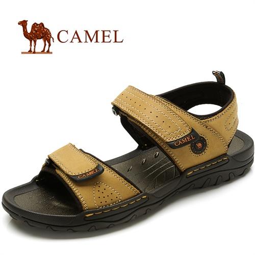 CAMEL骆驼 新款 男凉鞋 头层牛皮 时尚休闲凉鞋 魔术贴 沙滩鞋 82211609