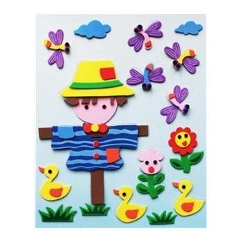 儿童益智玩具 立体拼图 儿童手工拼图 海绵纸eva拼图玩具 稻草人