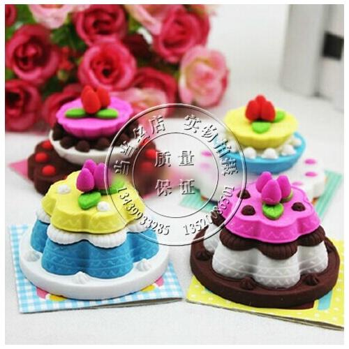 日韩国款创意文具可爱卡通立体多层生日蛋糕橡皮擦