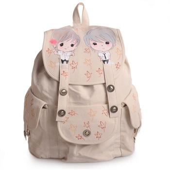 双肩包女2014学生书包双肩背包手绘涂鸦休闲旅行背包