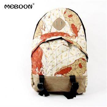 meboon 地图报纸国旗图案休闲双肩包背包学生书包