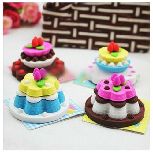 日韩国款创意文具可爱卡通立体多层生日蛋糕橡皮擦 可