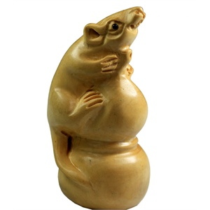 原色绿檀木雕~~葫芦鼠~福禄寿喜
