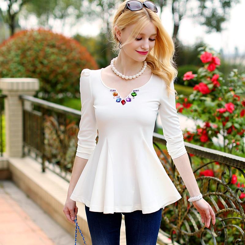 粉红大布娃娃 2014春装镶宝石收腰显瘦韩版打底t恤3_白色,xl