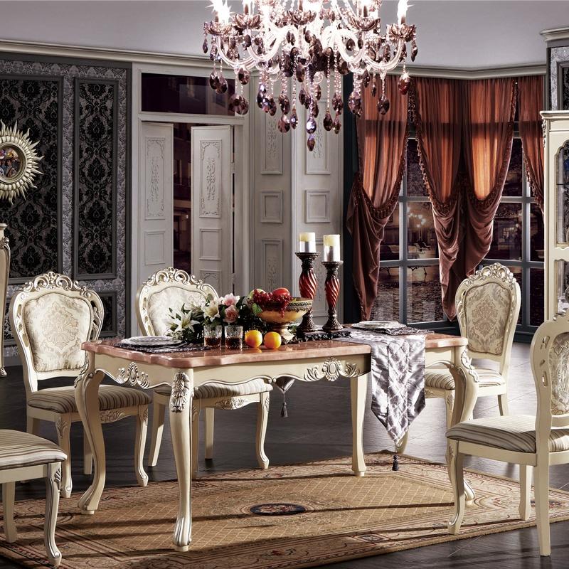 法式大理石餐台 实木长餐桌