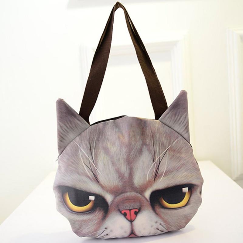 可爱卡通猫咪动物图案猫脸单肩包大包