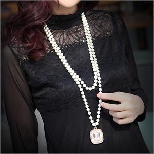 蛟蓓 采用施华洛世奇元素 双层 人造珍珠 开运石圆满珍珠毛衣链