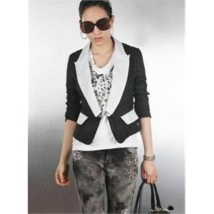*白领衣橱* 2010韩国夏装 OL清新拼色 黑白配 棉麻薄款小西装