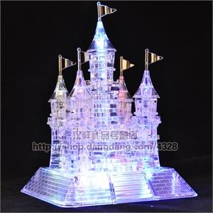 3d立体塑料水晶积木拼图闪光音乐城堡模型益智玩具