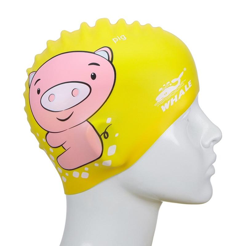 whale鲸鱼儿童可爱卡通印花纯硅胶游泳帽 cap-700_黄色