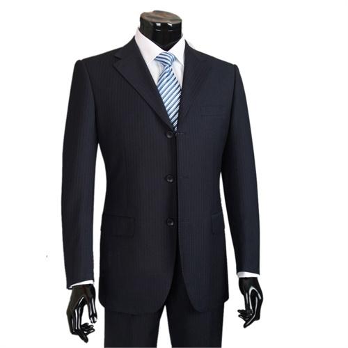 男士西服套装 男士西装 正装西服 深蓝色底暗竖条纹 上衣 裤子