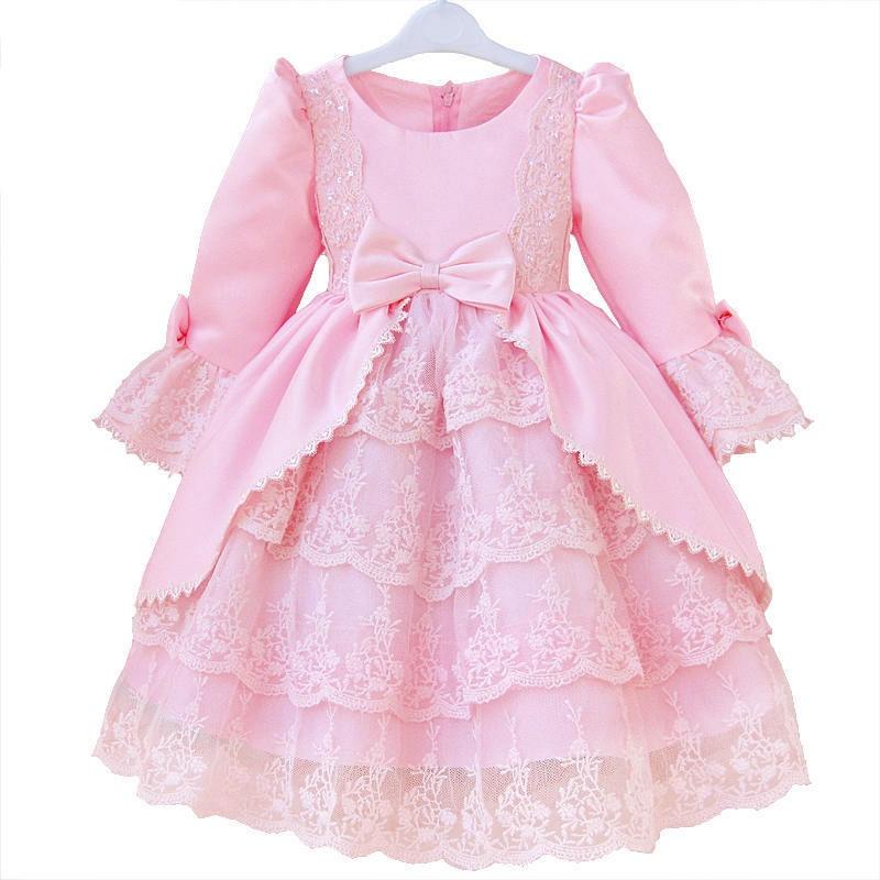 长袖公主裙礼服裙长袖连衣裙花童礼服裙