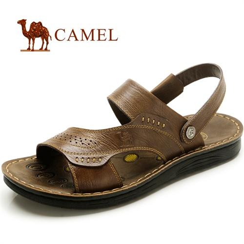 CAMEL骆驼 新款 男凉鞋 凉拖 休闲 夏季沙滩鞋 耐磨男士牛皮鞋 82207601