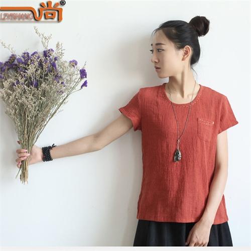 一尚夏季超薄棉麻女装文艺女式宽松小衫亚麻肌理手绣短袖t恤s506