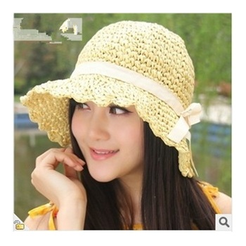 g 手工钩针帽子夏季时尚女渔夫帽子mc138