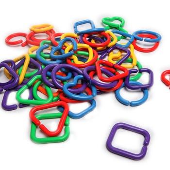 塑料积木几何扣环益智玩具串联 环相扣 幼儿园玩具 图片色_图片色袋装