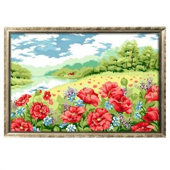 diy数字油画 罂粟花园 40*50 花卉 风景 diy手绘油画 客厅 装饰画
