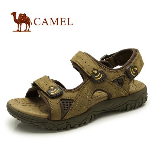CAMEL骆驼 男鞋 2013夏季新款 头层牛皮 日常休闲凉鞋 沙滩鞋 82308603