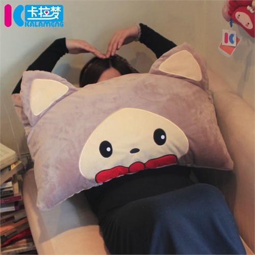 卡拉梦 幸运猫枕头 羽丝绒枕芯卡通护颈枕 可爱创意抱枕 可拆洗