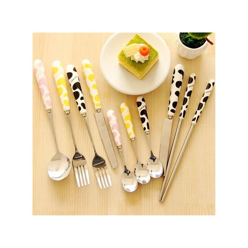 【爱家创意厨房用品】韩版创意可爱奶牛便携餐具刀叉