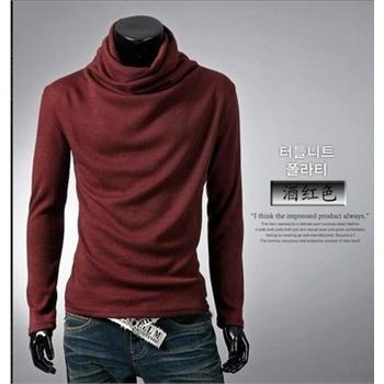 衫长袖t恤_酒红色
