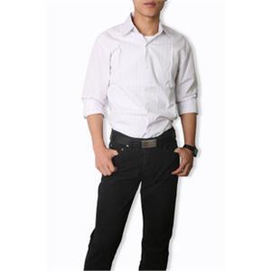 秋装时尚白红竖条线男装休闲衬衣男式纯棉长袖衬衫
