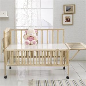硕士 实木无漆环保婴儿床宝宝游戏床带置物板送摇篮蚊帐