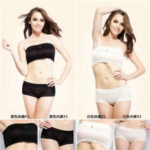 TSSHOW贴身尚品 【4件装】女士蕾丝抹胸2件装+女士中腰透气平角内裤2条装 TZWGK0035