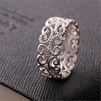 九壹银庄 925银饰纯银指环饰品民族风花纹雕花镂空复古戒指