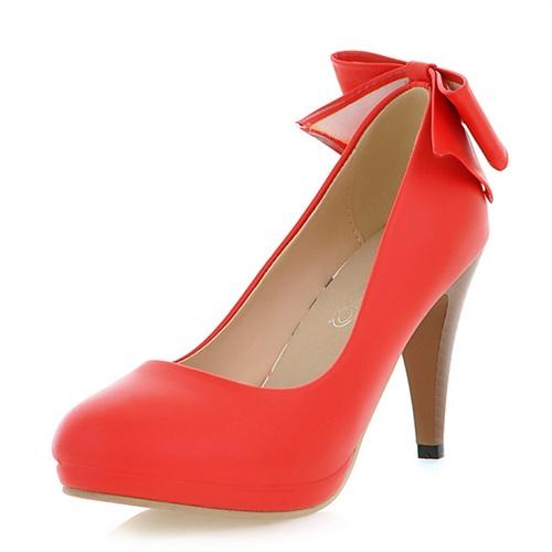 巫卡卡2014春季新款韩版高跟气质单鞋蝴蝶结浅口细跟舒适女鞋