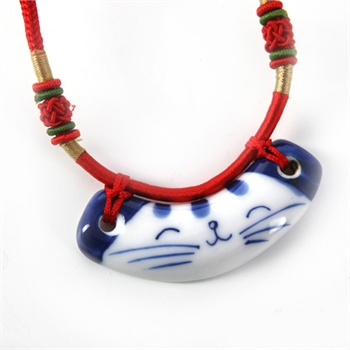 清凉音陶瓷项链毛衣链手绘青花瓷项链招财猫女友生日礼物创意礼品