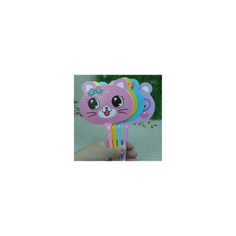 小清新可爱动物扇子圆珠笔0.5 创意文具 学生礼物奖品 (颜色随机)