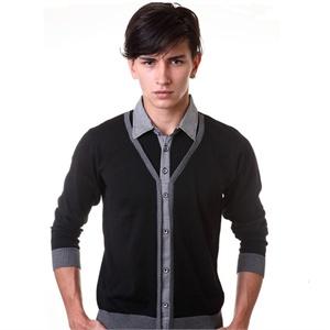 2014春季新款男衬衫领假两件开衫毛衣男式长袖修身针织衫 &FDS-8151