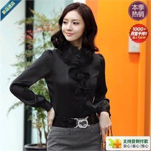 法姿 韩版春装仿真丝缎面纯色长袖衬衣JY462