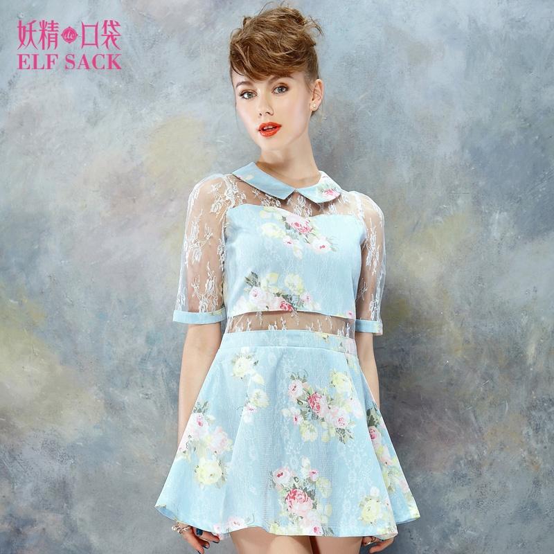 复古花朵拼蕾丝连衣裙裙子
