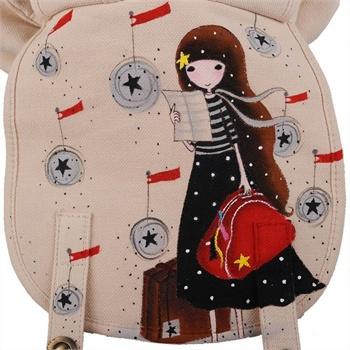 双肩包手绘帆布女书包背包旅行电脑包yc-c