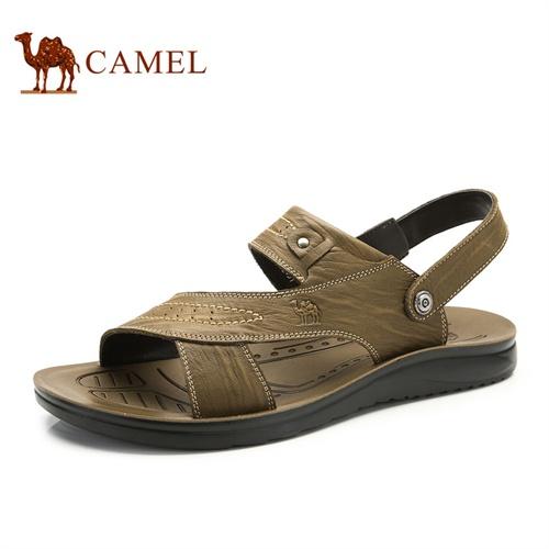 Camel骆驼凉鞋 新款正品日常休闲男鞋 男士沙滩鞋 头层牛皮男鞋