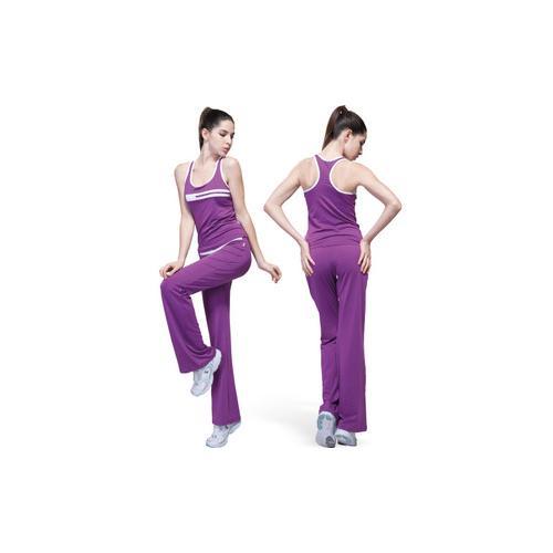 路伊梵夏季新款背心长裤女款健身服瑜伽服舞蹈服套装21240含胸垫_紫色