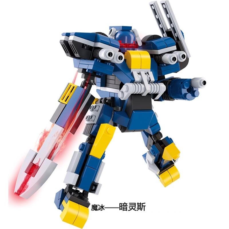鲁班儿童节礼物 乐高式拼装玩具百变机器人全套魔冰-暗灵斯 益智