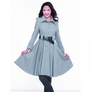 米奴仙法兰绒欧式大摆连衣裙-灰色s-b1d01